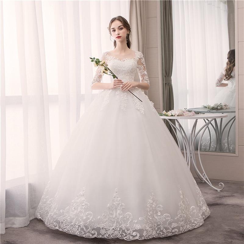 Do Dower Lace Half Sleeve O Neck Wedding Dress Fashion Slim Embroidery Lace Up Plus Size