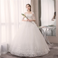 Do Dower Lace Half Sleeve O Neck Wedding Dress Fashion Slim Embroidery Lace Up Plus Size Custom Made Wedding Gown Casamento L