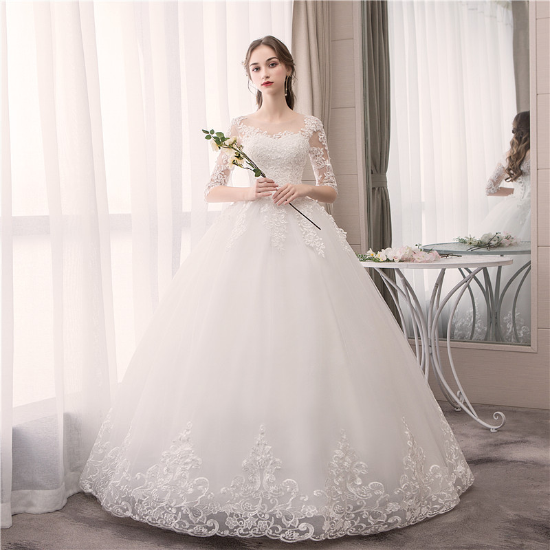 EZKUNTZA O Neck Half Sleeve Wedding Dress Fashion Slim Lace Embroidery Lace Up Plus Size Custom Made Wedding Gown Robe De Mariee