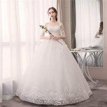 EZKUNTZA O boyun yarım kollu düğün elbisesi moda ince dantel nakış dantel Up artı boyutu Custom Made gelinlik Robe De Mariee