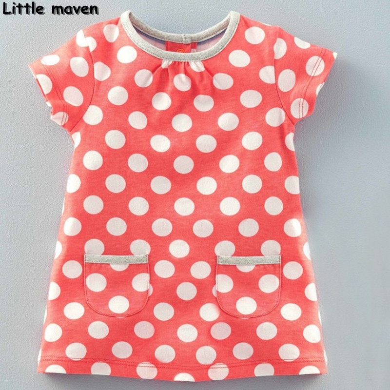 Little maven children clothing 2017 new summer baby girls brand clothes kids Cotton dot pocket dress S0135 мужское эротическое нижнее белье other brands jj gay 2030