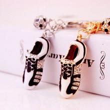 Jewelry Crystal Football Soccer Shoes Rhinestone Car Keychains Purse Bag Charm Buckle Pendant Keyrings Key Chains Women Gift