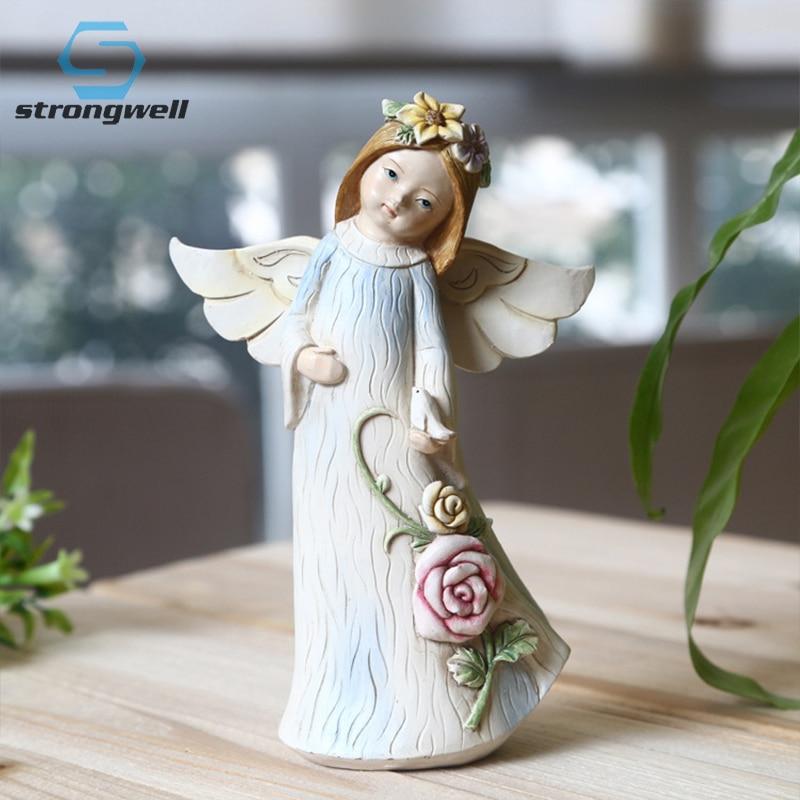 Europe Style Cute Angel Girl Resin Model Figurine Miniatures Cartoon Home Desktop Decoration Accessories Birthday Gift Toy