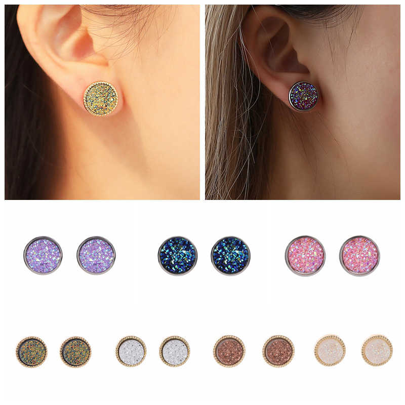 Fashion New Bling Women Stud Earrings Stainless Steel Geometric Round Matte Dream Starry Colourful Earrings Resin Stone Jewelry
