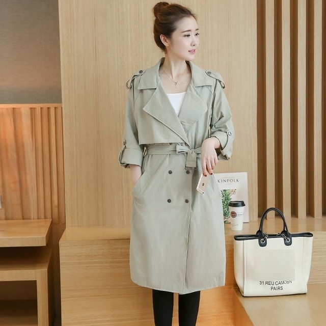 Plus Size Trench Coat For Women 2016 Autumn Korean Style Fashion Full Sleeve Turn-down Collar Long Coats Slim Thin Windbreaker