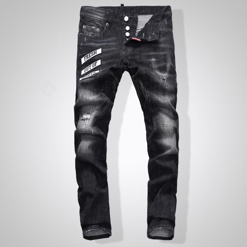 European American Style famous brand men   jeans   luxury Men straight denim trousers zipper Patchwork Slim black hole   jeans   for men
