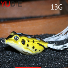 1Pcs 13g Big 7cm Body Artificial Soft Frog Fishing Lure For Snakehead Bait Fishing Sport Supplies High Quality Green Frog Lures