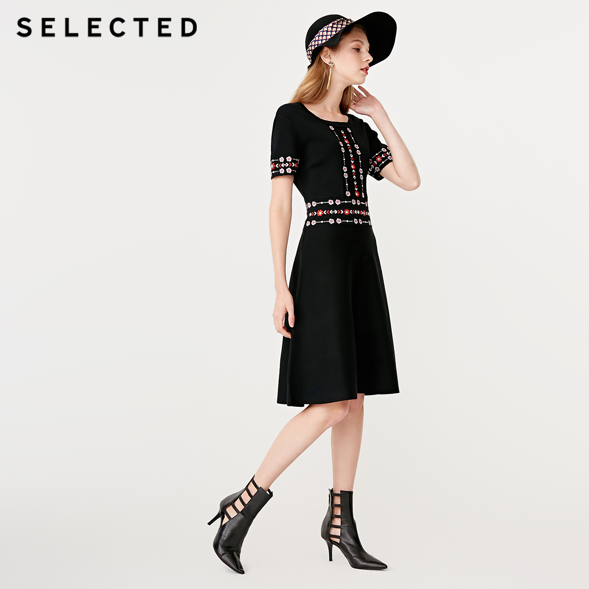 SELECTED Black Vintage Embroidery Slim Fit Midi Dress S 419146501