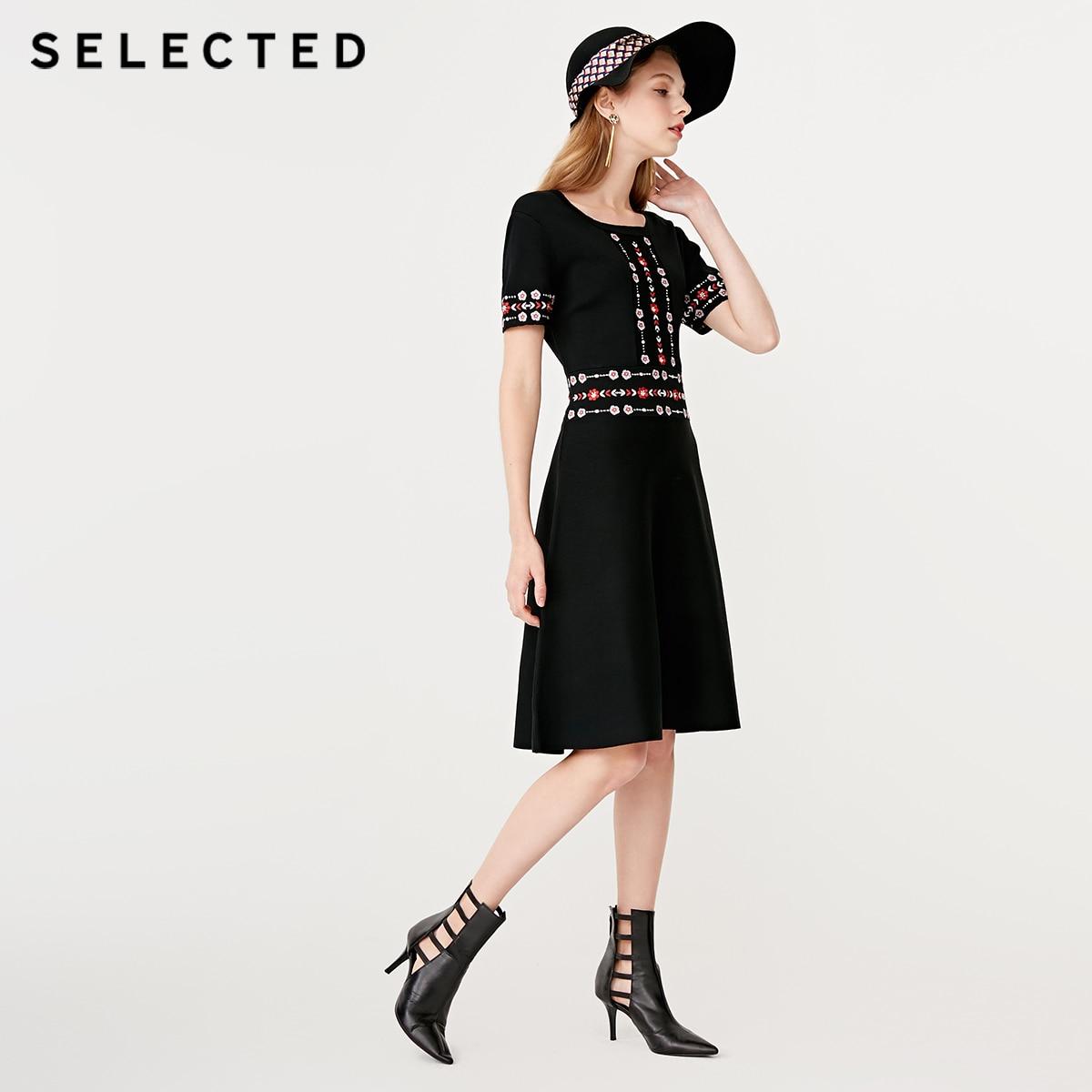 SELECTED noir Vintage broderie Slim Fit robe mi-longue S | 419146501