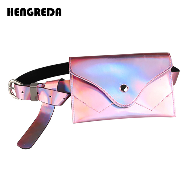 Holographic Women Belt Bag Laser Ladies Pockets Waist Bag Bum Bling Fanny Pack 2018 PVC Femal Phone Pouch Small for Travel Party