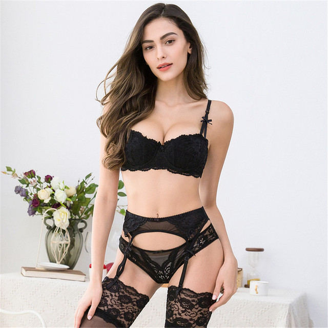 a161f96fb Women s sexy lace Lingeire For Women underwear push up half cup bra set (bra +panties+garter+stockings) 4 pcs lots