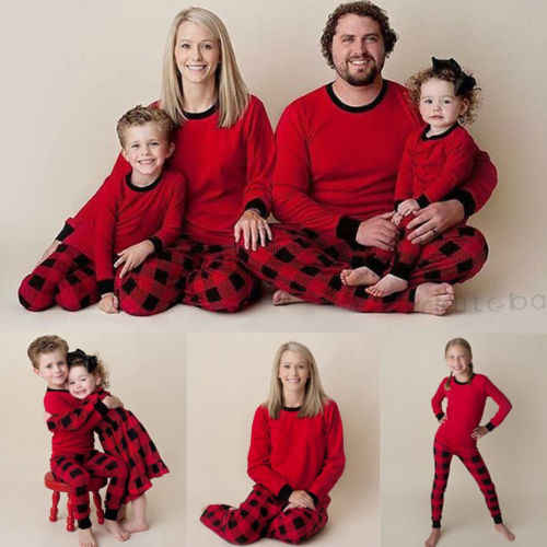 2019 Merry Christmas Red Plaid Clothes Family Matching Pajamas Set Adult  Mens Womens Parent Children Xmas 99659353f