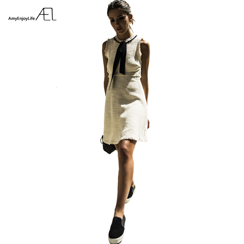 AEL Round Neck Empire Waist Bow Vest Dress Flax Burr 2017 Summer Sleeveless Concise Minidress Fashion