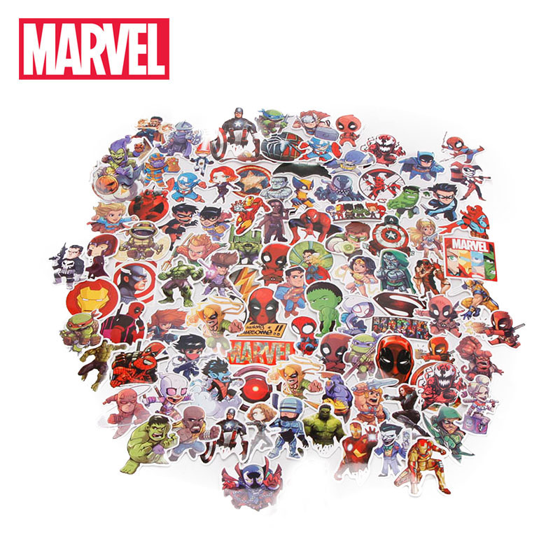 Captain American Car-Sticker Marvel-Toys Luggage Avengers Spiderman Hulk Iron-Man Super-Hero