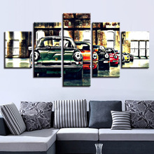 Fashion Print Painting Modular Pictures Wall Art Poster 5 PiecesSet Car Framework Canvas HD For Living Room Home Decoration