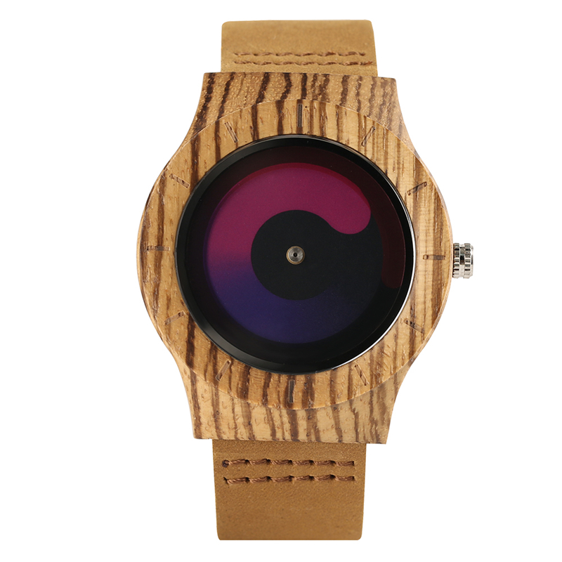 Hot Sale Gradual Color Turntable Aviator Casual Genuine Leather Band Swirl Dial Nature Wood Quartz Wrist Watch Relogio Masculino nature wood simple men bamboo watch cool casual genuine leather band strap wrist watches quartz women gift relogio masculino