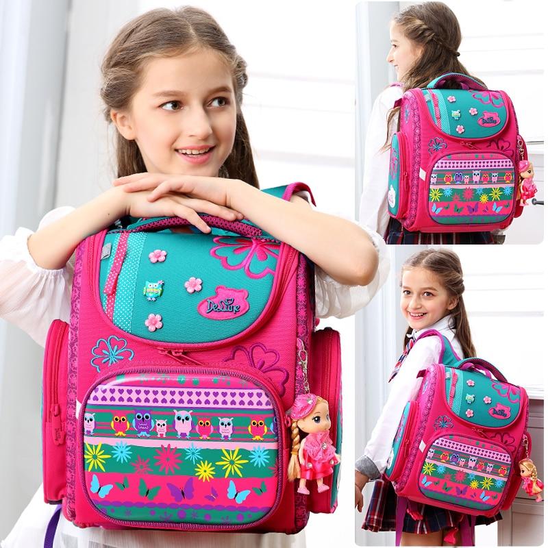 Мультфильм школьные сумки рюкзак для девочек и мальчиков Delune Сова узор детский ортопедический рюкзак складной ранцы Mochila Infantil