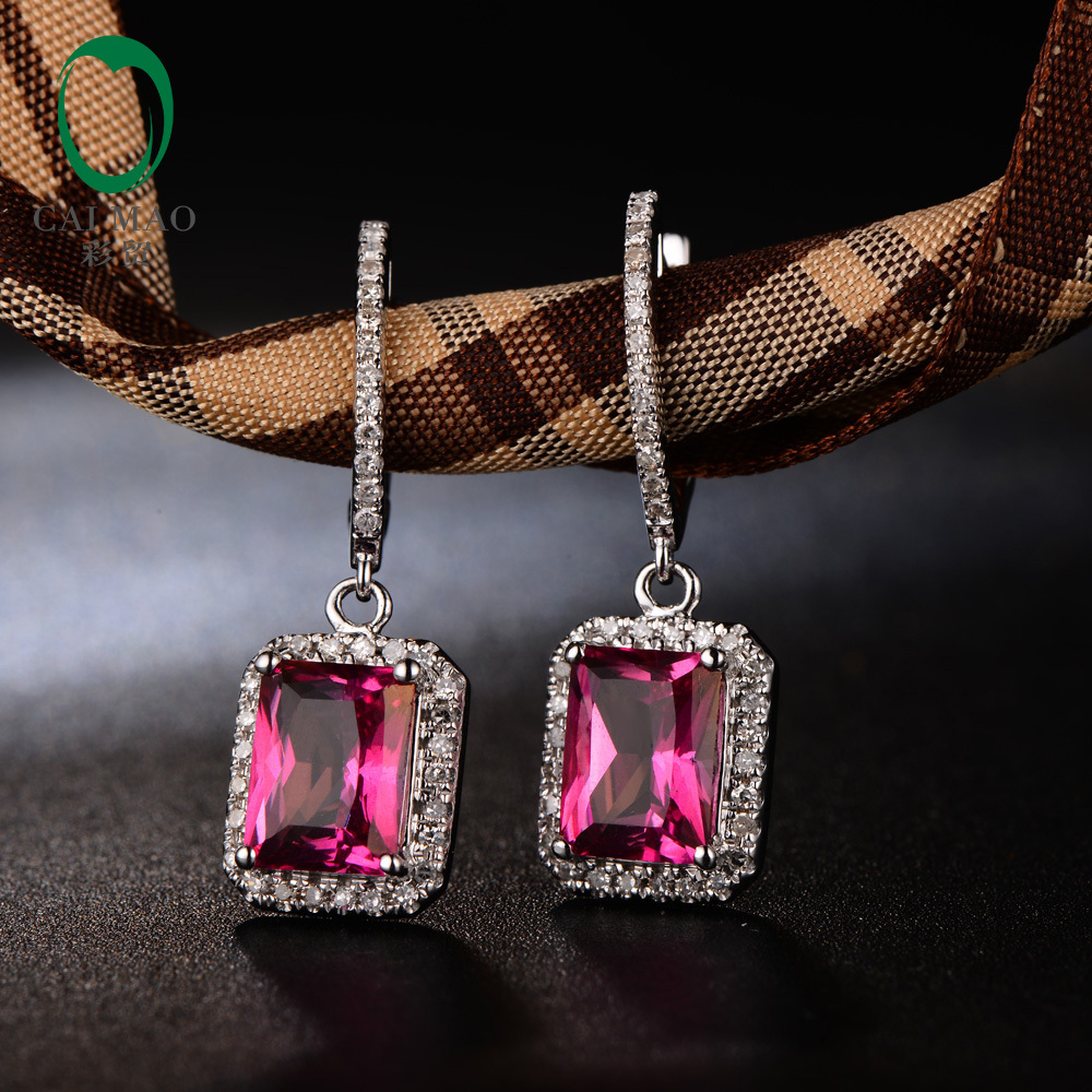 Caimao 14KT White Gold 5.65ct 7x9mm Emerald Cut Good Pink Topaz Diamond Engagement Earrings Dangle caimao exquisite jewelry natural cabochon cut emerald baguette cut diamond 14kt white gold drop earrings
