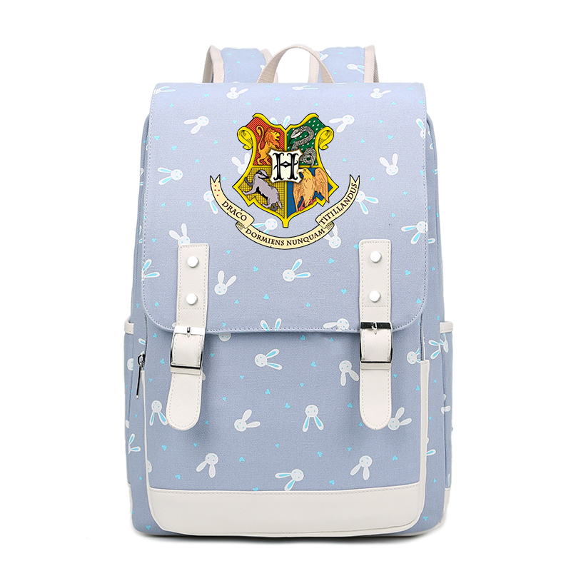 High Quality Harry Potter Hogwarts Printing Backpack Canvas School Bags for Teenage Girls Candy Color Women Backpack Rugzak