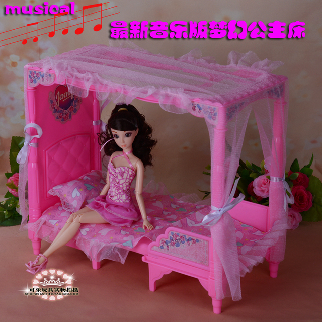 New Doll accessories Princess bed with music for barbie doll 1 6 furniture  play set. New Doll accessories Princess bed with music for barbie doll 1 6