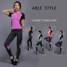 SJ-Maurie Running Suits Women Gym Fitness Clothing Sports Running Tracksuits T-shirt+Jogging Pants Slimming Bodysuit
