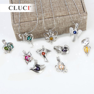 Image 5 - CLUCI 10pcs/set Mixed Bird Styles Silver Plated Cages for Women Hot Wish Pearl Locket Jewelry MPC003SB