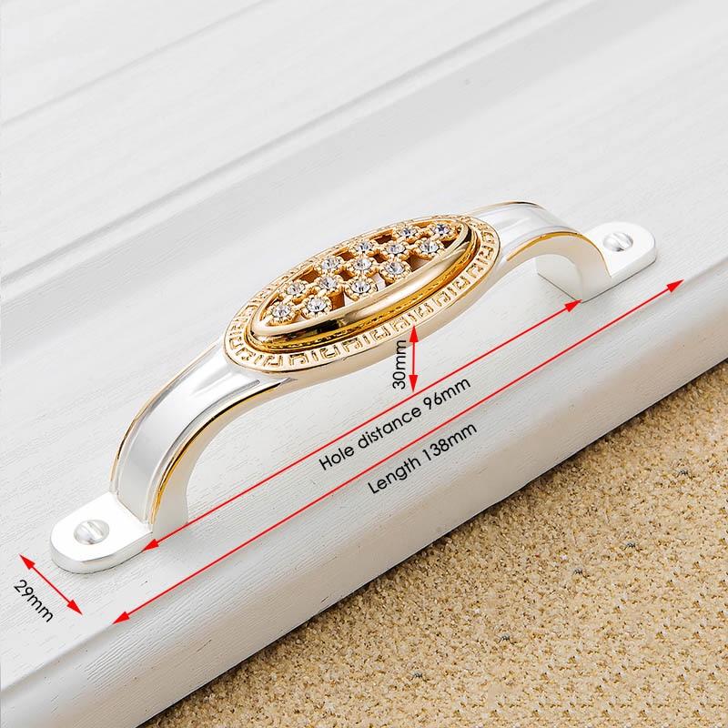 KAK хрустальные золотые дверные ручки с бриллиантами, роскошные цинковые ручки для ящика шкафа, европейские ручки для шкафа, мебельные ручки - Цвет: Handle-803-96G