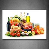 Framed Wall Art Pictures Fruit Vegetable Wine Canvas Print Food Modern Posters With Wooden Frames For Living Room Decor
