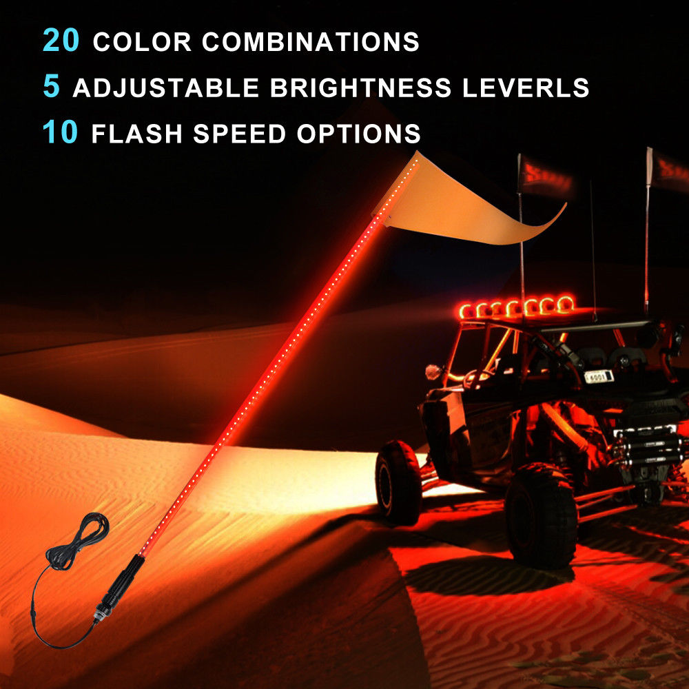 KEMiMOTO UTV Whip Light 5ft LED Flag Pole Safety Antenna Whip Lights For Sand Dune Buggy ATV Truck For Jeep For Polaris Rzr
