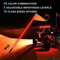 KEMiMOTO UTV Whip Light 5ft LED Flag Pole Safety Antenna Whip Lights for Sand Dune Buggy ATV Truck for jeep for polaris rzr
