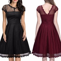 Womens Elegant Sexy V Back Lace Slim Tunic Club Bridesmaid Mother of Bride Dress Casual A Line Party Dress