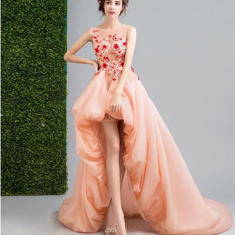 Ruthshen Nude Rosa High Low Abendkleider 2018 Illusion Sexy Kurze ...