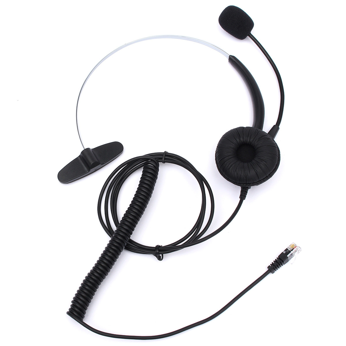 New RJ11 Headset With Microphone Adjustable Metal Headband Telephone Noise Reduction Headphone For Office Call Center