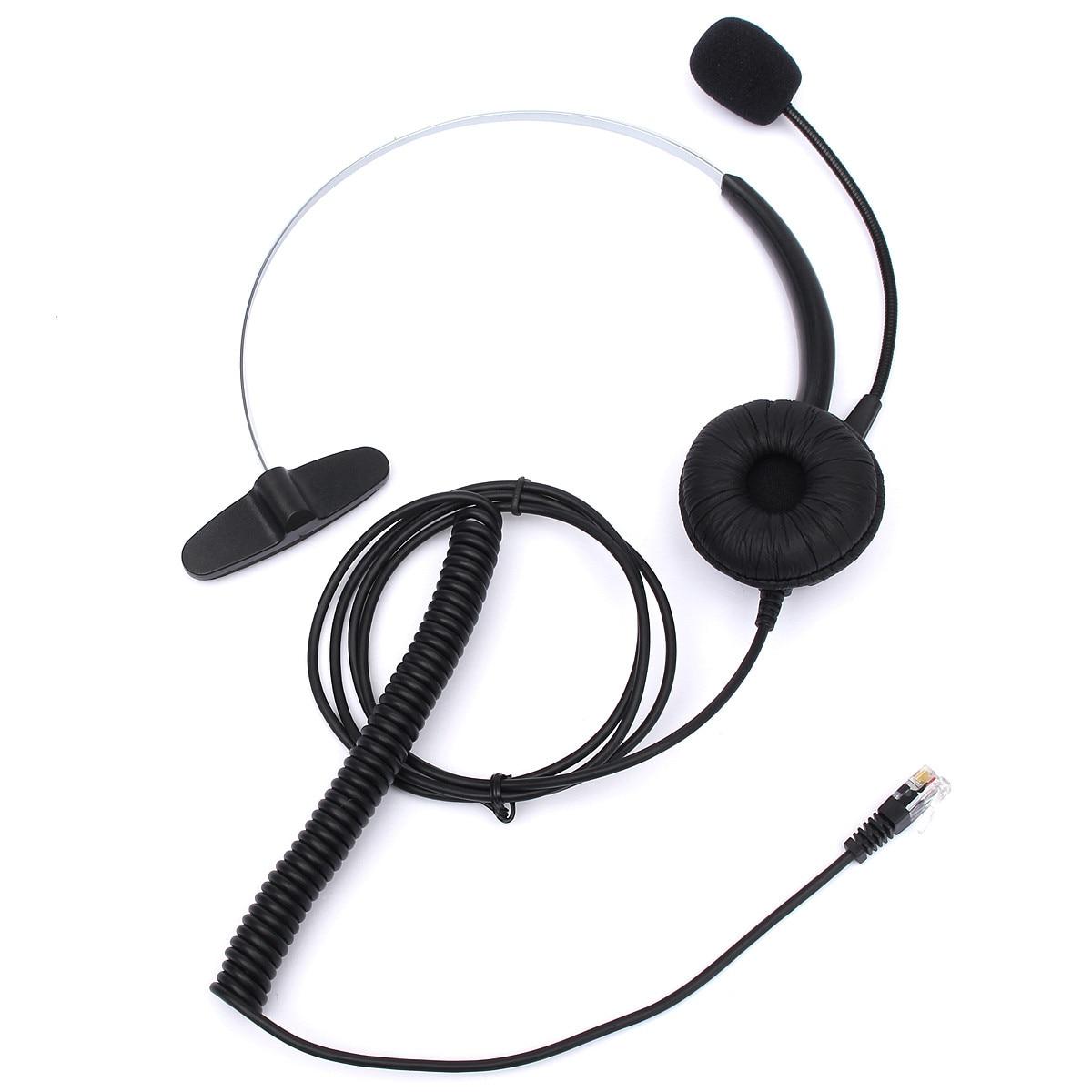 Nuevo RJ11 auriculares con micrófono ajustable diadema de Metal Teléfono de reducción de ruido auriculares para Oficina Centro