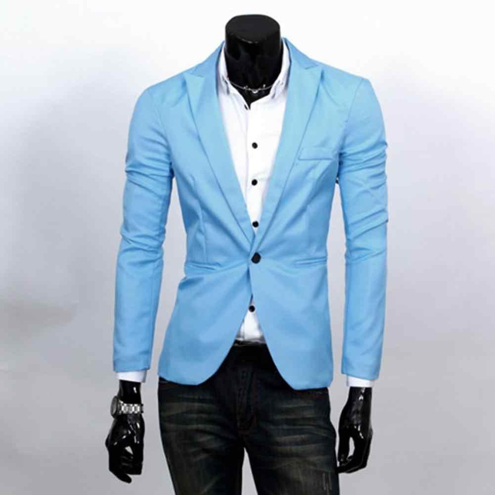 Модное платье куртка для мужчин Slim Fit Solic цвет Повседневный костюм бейзер кофта жакет верхняя одежда Топ