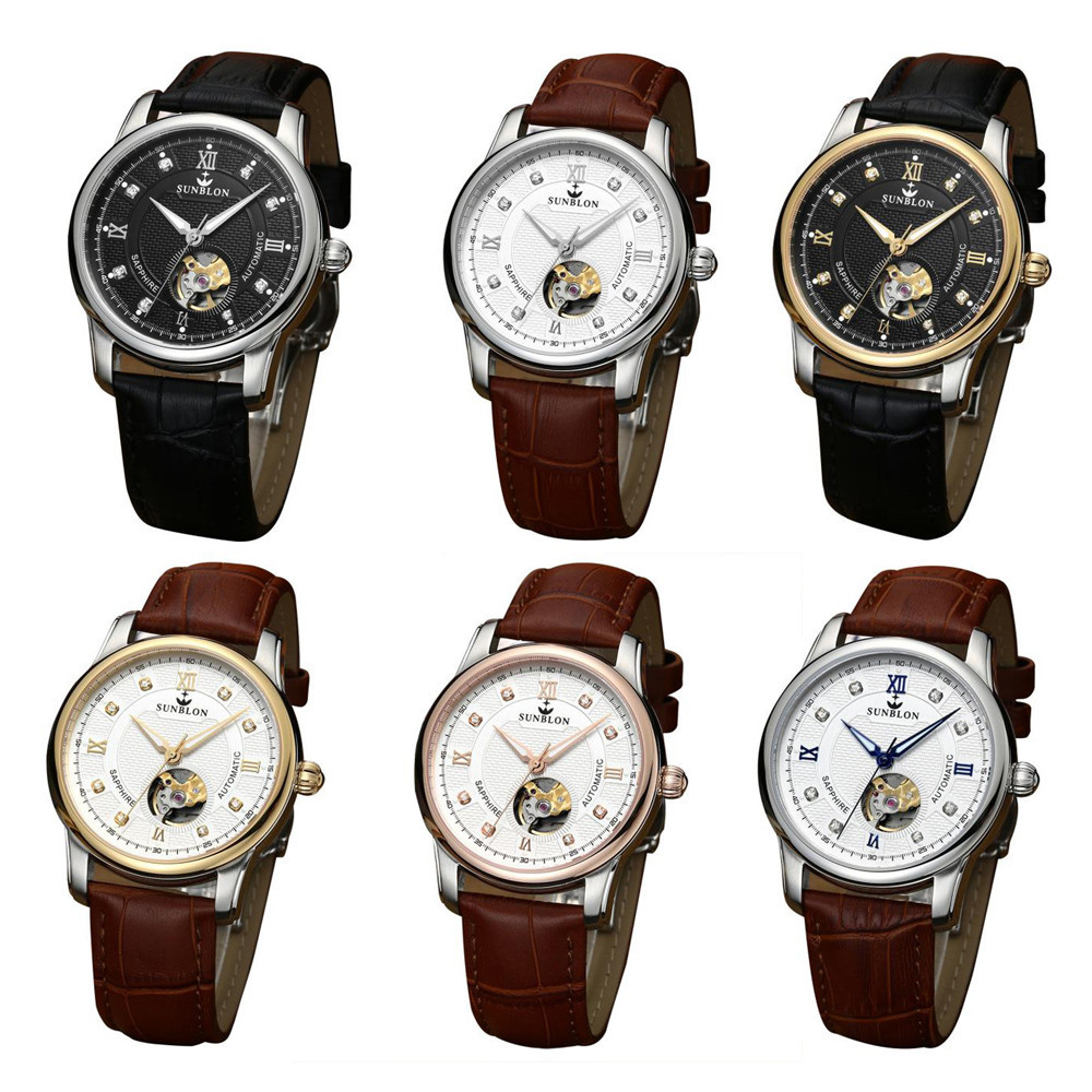 Sapphire Crystal Dial Window Water Resistant Men's Automatic Mechanical Watch With Leather Band sapphire