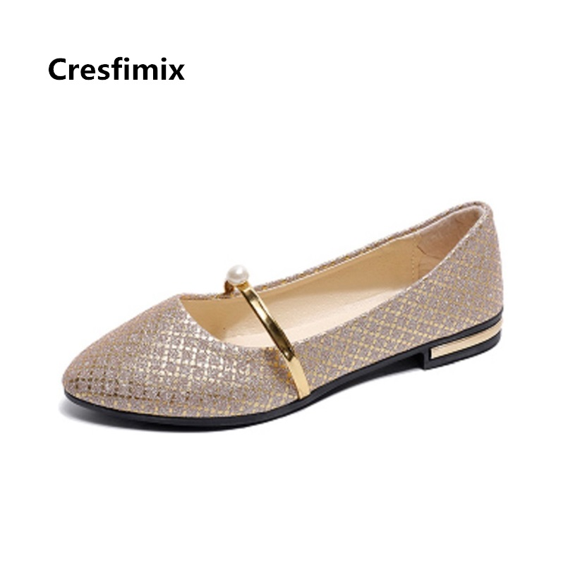 Cresfimix women fashion silver bling flat shoes lady casual spring summer slip on flats female sexy pu leather shoes zapatos cresfimix women casual pu leather slip on flat shoes lady casual white flats female soft and comfortable loafers zapatos