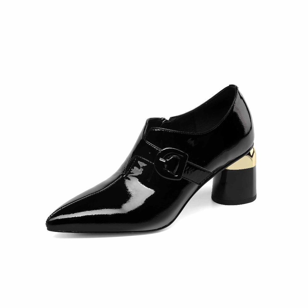 Krazing Cuoio 42 Streetwear Genuino In Primavera Beige Zipper Del Alti Metallo Di Pot Marca Talloni Eleganti Punta il Nero Grande Formato 41 A Scarpe Pompe L54 rtnUqt