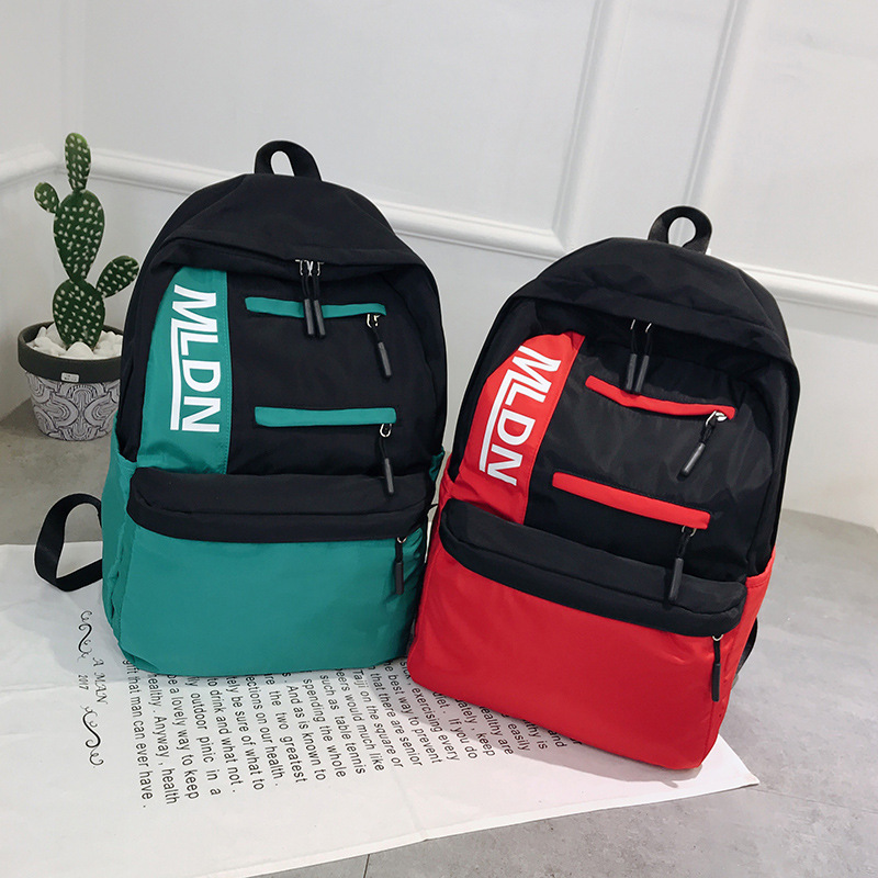 Women Nylon Backpack Letters Printing Zipper Ribbon School Shoulder Bag Korean Large Capacity Student Bag For Girl Travel Bag