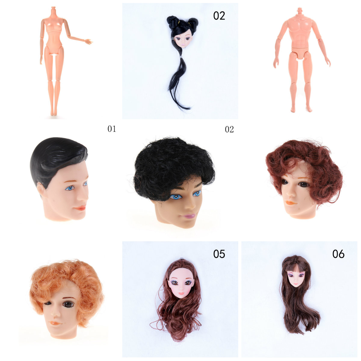 Dolls & Stuffed Toys Professional Sale New Doll Without Head Doll Male Female Naked Body Necessary For Diy All Joints Moveable Body Toy Doll Head With Hair For Doll Toys & Hobbies