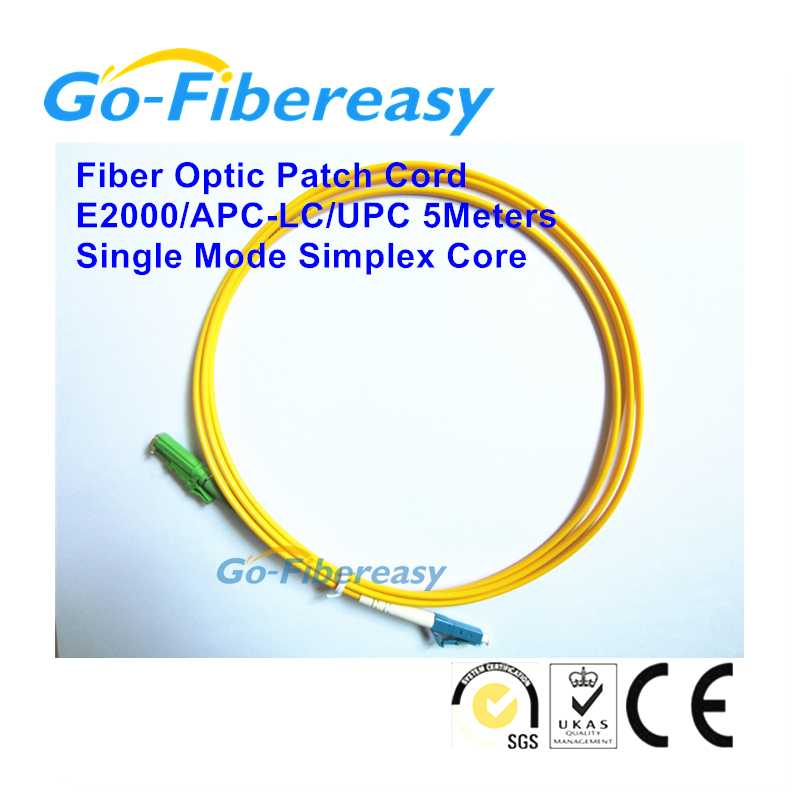 50pcs/lot E2000/APC-LC/UPC Single mode, simplex core, patch cable 5meters 3.0mm