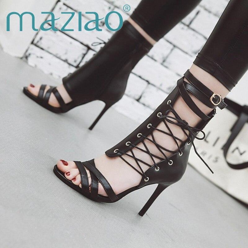 8ad5514450be43 2019 Zipper Chaussures Gladiateur attaché Femmes Sexy À Noir De Sandales  Talon Boucle D'été Mince ...