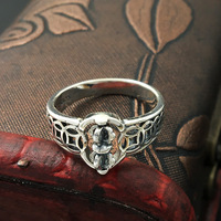 S925 Sterling Silver Jewelry Fashion Retro Thai Silver Simple Coins Turn King Kong Pestle Fashion Ring Male