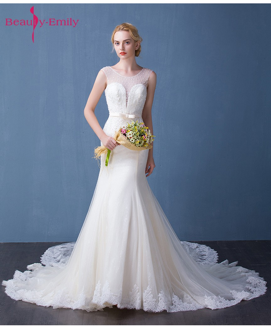 Beauty Emily Ivory Luxury Beads Lace Up Sexy Mermaid Wedding Dresses ...
