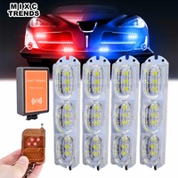1Set Remote Control Car Truck Emergency Strobe Flash Light Dash Side Marker Grill Warning Light Flasher White LED DRL Daylights