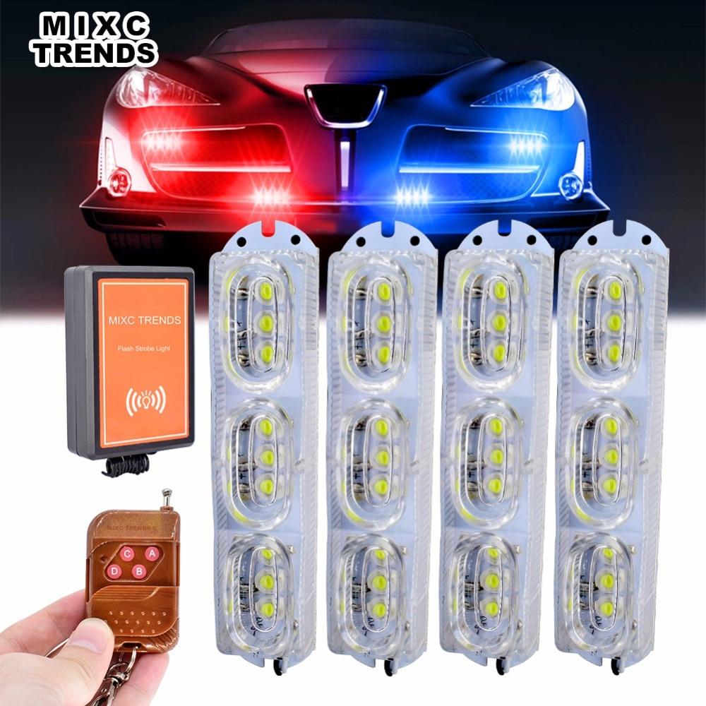 1Set Remote Control Car Truck Emergency Strobe Flash Light Dash Side Marker Grill Warning Light Flasher White LED DRL Daylights