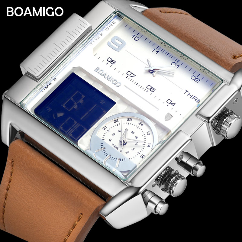 Dropshipping BOAMIGO brand men 3 time zone watch man sport digital watches brown leather military quartz watch relogio masculino-in Quartz Watches from Watches