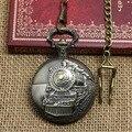 Victorian Style Retro Vintage Bronze Steam Train Head Quartz Movement Pocket Watch Necklace   Chain Pedant P107C