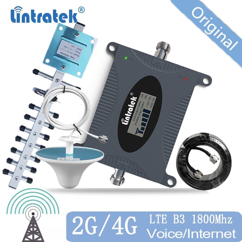 Lintratek DCS LTE Amplificador De Sinal Celular 1800 MHZ 2g 4g Repetidor de Sinal de Telefone Celular Impulsionador Móvel Conjunto para Internet 50