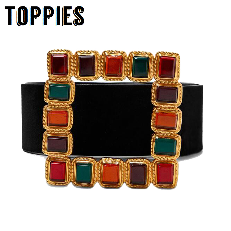 Vintage Colorful Diamond Square Buckle   Belt   Faux Leather Wide   Belt   for jeans Dress Women Fashion Accessories